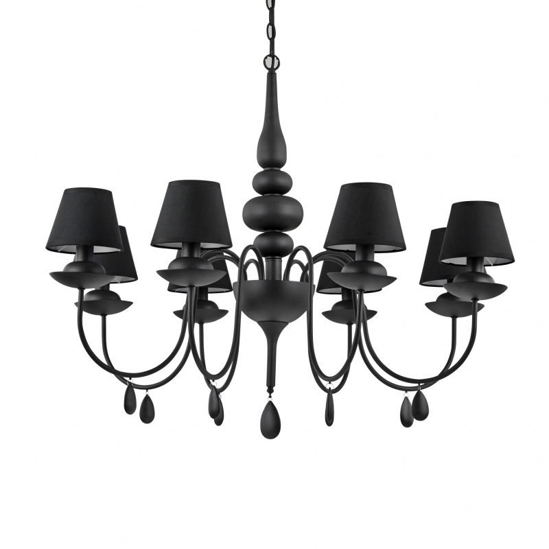 Люстры, подвесы классика Люстра подвесная Ideal_lux BLANCHE SP8 NERO